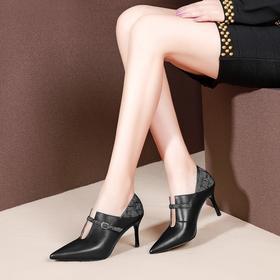 简约时尚,头层牛皮低帮尖头细跟高跟鞋OLD-A125