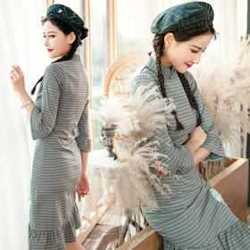 HH-9314新款日常中长少女风旗袍改良款鱼尾绣花旗袍连衣裙
