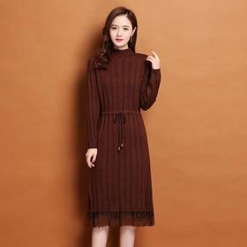 FCY-SJ1687新款蕾丝拼接韩版宽松毛衣裙