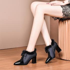 时尚拼色,加绒深口真皮粗跟单鞋OLD-855