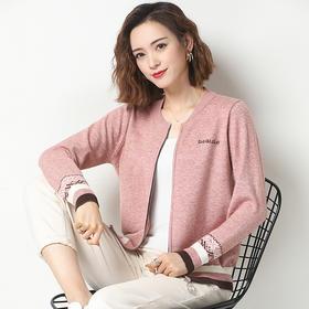 复古拼色,短款宽松针织开衫毛衣圆领外套YKYM-033-2801