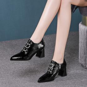 尖头时尚,系带深口高跟单鞋OLD-7218