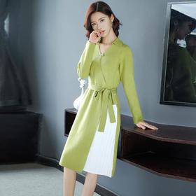系带收腰,时尚撞色针织连衣裙YKYM-082-6857