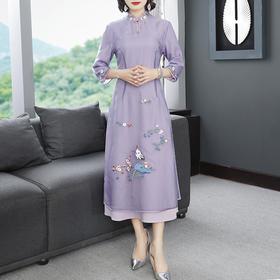 简约中国风,刺绣欧根纱改良旗袍连衣裙YFN-19526