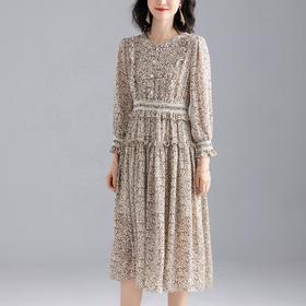 洋气碎花,显瘦印花收腰中长款连衣裙YKYM-042-95602