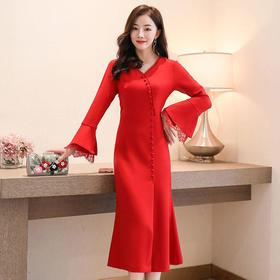 纯色百搭,高腰套头中长款连衣裙CQ-HBLJR8092