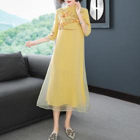 中式复古,刺绣欧根纱改良版连衣裙YFN-5007