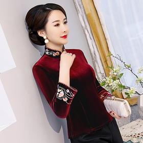 修身长袖,日常百搭丝绒刺绣旗袍上衣HYX-7306