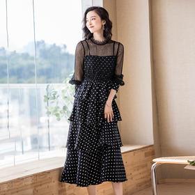 气质收腰,蕾丝雪纺印花圆点连衣裙YKYM-042-95607