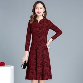 QYM-KSY-JKL997中长款印花显瘦时尚连衣裙新款韩版立领长袖修身潮流打底裙
