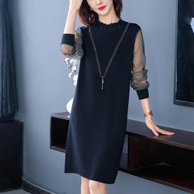 宽松显瘦,韩版气质网纱拼接连衣裙YKYM-058-7515