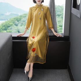 复古中国风,改良刺绣旗袍中长款修身连衣裙YFN-19513