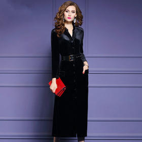 FMY-13313新款丝绒连衣裙女单排扣系带收腰a字长裙