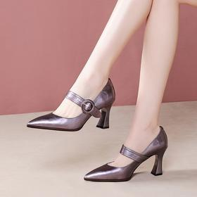 时尚百搭,职业真皮尖头一字扣粗跟单鞋OLD-6012-1