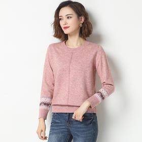 时尚百搭,宽松短款针织圆领套头毛衣YKYM-033-2802