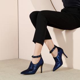 复古优雅,低帮鞋羊皮拉链搭扣深口单鞋OLD-N47-F1066