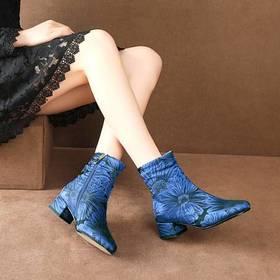 MJM-389-3冬季新款民族风缎面提花覆盖羊皮粗跟底跟妈妈鞋