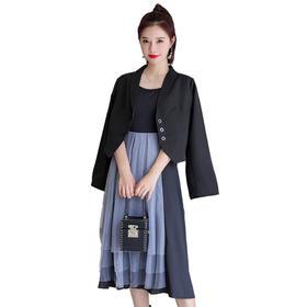 【寒冰紫雨】 网红短款西装外套春秋新款  网纱背心连衣裙  AAA7733