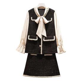 【寒冰紫雨】 胖妹妹mm小香风2件套装女 L-4XL大码女装 90-200斤左右可以穿 宽松显瘦遮肉质感好粗纺 两件套  AAA7730