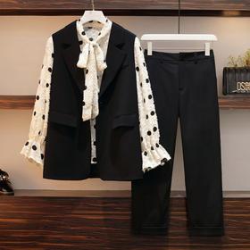 【寒冰紫雨】 胖妹妹mm洋气减龄3件套装女 L-4XL大码女装 90-200斤左右可以穿 春装短款马甲衬衣长袖立体提花领结设计衬衫 宽松显瘦阔腿裤子三件套    AAA7733