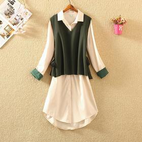 【寒冰紫雨】小鸟依人风2件套装女 M-2XL装裙针织毛衣马甲   连衣裙套装女小个洋气时尚两件套 AAA7734
