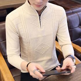 【寒冰紫雨】   毛衣男士半高领开叉毛衫  个性学生打底针织衫线衣    AAA7759