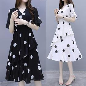 【寒冰紫雨】洋气减龄连衣裙  波点中长款V领裙子  AAA7784