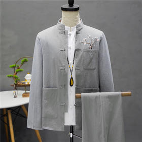 【寒冰紫雨】 2件套装男 立领中山装休闲运动套装 春季男士长袖外套+长裤子  AAA7817