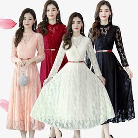 【寒冰紫雨】 春装新品洋气时尚蕾丝连衣裙  长裙春秋季长袖裙子  AAA7802
