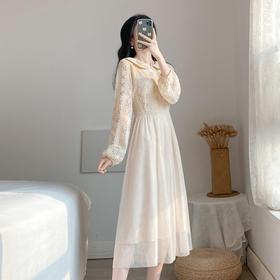 【寒冰紫雨】 小香风网纱打底连衣裙 气质显瘦收腰中长款裙子 超仙甜美长裙  AAA7792