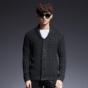 【寒冰紫雨】   英伦风毛衣 潮男士开衫毛衣V领后翻单排扣毛衫上衣服    AAA7803