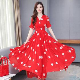 【寒冰紫雨】夏季短袖连衣裙气质显瘦收腰中长款裙子洋气减龄 AAA7682