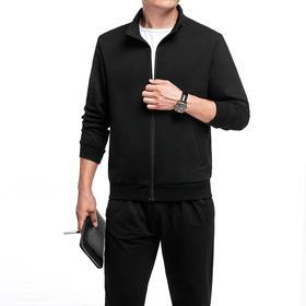 【寒冰紫雨】  春秋季新款2件套装男士长袖开衫卫衣外套  大码男装M-5XL长裤套装男 宽松舒适长裤子两件套装男 黑色  AAA7804
