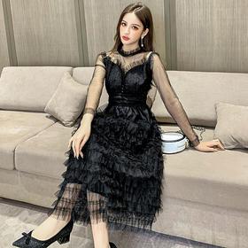 【寒冰紫雨】夏季网纱拼接连衣裙 气质显瘦收腰中长款裙子 超仙甜美长裙  AAA7792