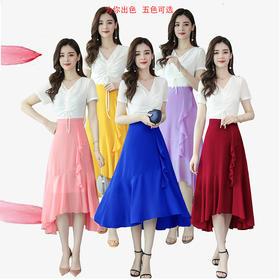 【寒冰紫雨】 夏款新品雪纺连衣裙   春夏装半截袖裙子V领抽绳长裙    AAA7801