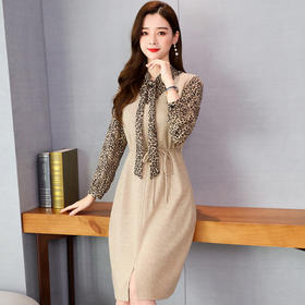 【寒冰紫雨】 春秋季新品豹纹长袖衬衣上衣服 +针织背心收腰连衣裙 2件套  AAA7797