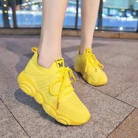 【寒冰紫雨】  松糕底女鞋子 透气网布鞋小白鞋厚底   AAA7824
