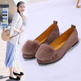 【寒冰紫雨】时尚尖头女鞋子 单鞋浅口休闲鞋子女士套脚平底鞋  绒面懒人鞋一脚蹬鞋子   AAA7828