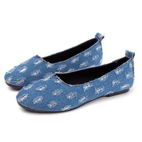 【寒冰紫雨】时尚低跟圆头女鞋子牛仔破洞做旧牛仔鞋子 大学生单鞋中口休闲鞋子女士套脚懒人鞋一脚蹬鞋子   AAA7830