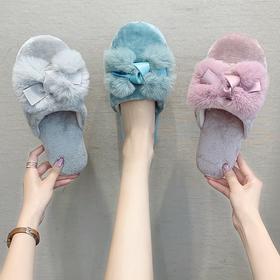 【寒冰紫雨】 绒毛冬季女绒面女士拖鞋   防滑耐磨软底 工厂直供  AAA7834