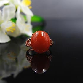 天然南红柿子红戒指