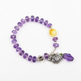 天然紫水晶多宝原创手链