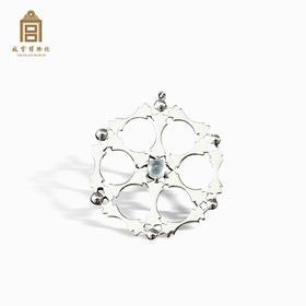 故宫博物院 银质翡翠团花吊坠