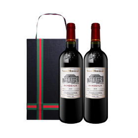 【赠轻奢GUCCI风皮盒】法国莫堡波尔多AOC葡萄酒750ml*2