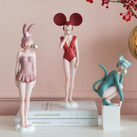 创意北欧摩登少女摆件送女生闺蜜生日情人节礼物家居卧室客厅装饰
