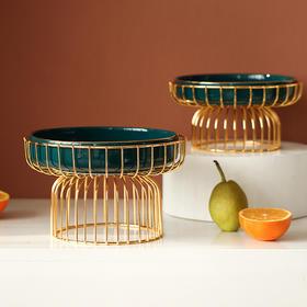 北欧创意轻奢果盘摆件欧式客厅家用茶几套装玻璃糖果坚果个性果盆