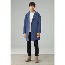 墨麦客男装2020春季新款中长款双面呢大衣男士单排扣羊毛呢子外套8310