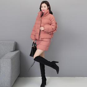 HT5308时尚显瘦加厚棉服半身裙二件套TZF