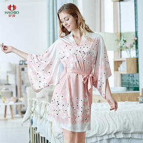 好波20春夏新品女士夏季仿丝吊带裙+七分袖睡袍2件套家居服HJF2057