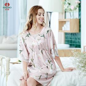 好波春夏仿丝睡裙粉色印花蕾丝七分袖女士睡裙HJF2059
